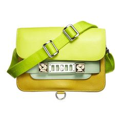 01 ❤ liked on Polyvore featuring bags, handbags, purses, bolsas, borse, green, yellow handbag, proenza schouler purse, hand bags and purse bag