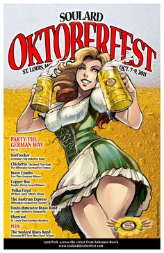 the german celebrate once a year the 'oktoberfest' this attracts a lot tourists too. Pin Up Girl Vintage, Photo Vintage, Pin Up Posters, Travel Posters, Vintage Advertisements, Vintage Ads, Posters Vintage, Beer Girl, Beer Poster