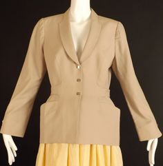 THEIRRY M UGLER-1990s Khaki Wool Suit Jacket, Size-8