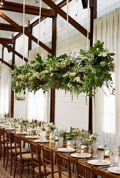Brides: Floral Chandelier with Greens & White Flowers. Southern Blooms created a statement-making floral chandelier packed with tons of greenery, pink and peach roses, and white hydrangea. Chandelier Wedding Decor, Flower Chandelier, Wedding Reception Decorations, Wedding Centerpieces, Wedding Receptions, Wedding Ideas, Wedding Ceiling, Chandelier Ideas, Wedding Blog