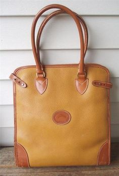 RARE Vintage DOONEY & BOURKE Brown Tan ALL WEATHER LEATHER Large BAG PURSE TOTE