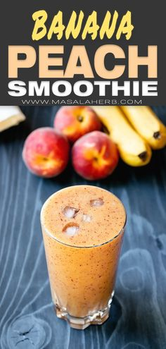 Banana Peach Smoothie Recipe - Healthy breakfast fruit smoothie with fresh peach and banana turned into a wholesome vegan smoothie without yogurt Smoothie Without Yogurt, Yogurt Smoothies, Apple Smoothies, Healthy Breakfast Smoothies, Vegan Smoothies, Breakfast Fruit, Healthy Peach Smoothie, Peach Recipes Breakfast, Strawberry Smoothies