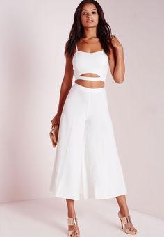Missguided - Crepe Wide Leg Culottes White