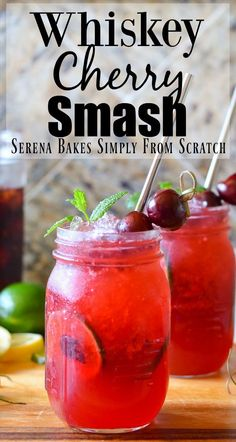 Whiskey Cherry Smash is a slushy cocktail recipe perfect for a hot day from Serena Bakes Simply From Scratch. Whiskey Cherry Smash is a slushy cocktail recipe perfect for a hot day from Serena Bakes Simply From Scratch. Whiskey Cocktails, Wine Drinks, Cocktail Drinks, Cocktail Recipes, Alcoholic Drinks, Whiskey Mixed Drinks, Cherry Cocktails, Slushy Alcohol Drinks, Brandy Cocktails