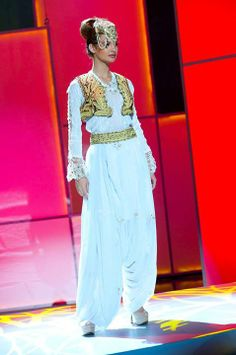 Miss Albania 2011, Xhesika Berberi pre-tapes in her National Costume(from Central Albania) onstage at Credicard Hall on September 7, 2011.