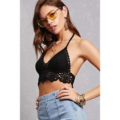 Forever21 Crochet Halter Crop Top (€24) ❤ liked on Polyvore featuring tops, black, tie halter top, forever 21 tops, macrame top, crochet halter top and scallop hem top