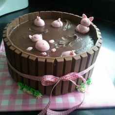 Pigs in the Mud Cake, using cake mix and other short cuts. I needed a smile.