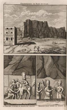 Grafsteden te Naxi Rustan ; Beelden tusschen de middelste graven; beelden half onder aarde - Persepolis - 1704 - Cornelis de Bruijn - New York Public Library - Digital Collections