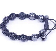 Black Rhinestone Crystal Clay Disco Ball Beaded Charm Bracelet Bangle