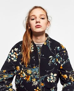 QUILTED FLORAL BOMBER JACKET