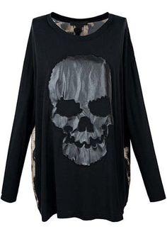 #Romwomen           Skull Pattern Coffee Leopard Loose T-shirt