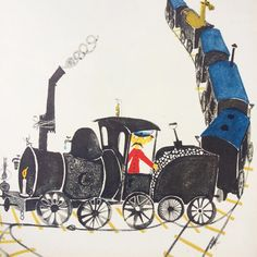 «Locomotiv. Stig Lindberg. Illustration for Britt Hallqvist's 1958 ABC book. …»