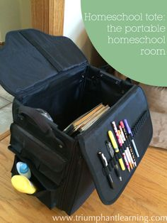 A scrapbook tote turned into a homeschool tote becomes the ultimate portable homeschool room. | www.triumphantlearning.com
