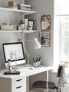 A light summer workspace with Design Letters & Friends. Love the grey wall and a… A light summer workspace with Design Letters & Friends. Love the grey wall and a minimalistic scandinavian design. Workspace Design, Home Office Design, Home Office Decor, House Design, Office Ideas, Office Designs, Office Workspace, Office Chairs, White Desk Office