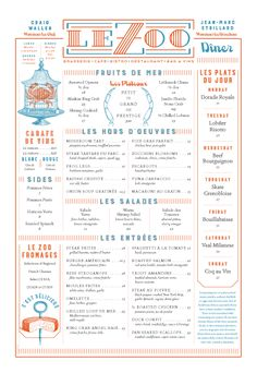 Le Zoo Menu by DeVicq Design | visual communication. graphic design. menu design. restaurant menu. layout. grid. hierarchy. typography. illustration.