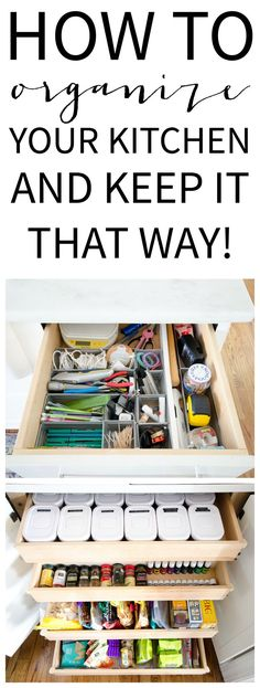 Easy kitchen organization ideas for the snack drawer, junk drawer, spice jars, and all those papers that come into the house every day!