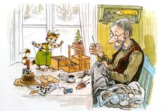 Sven Otto Rickard Nordqvist (born 30 April is a Swedish writer and illustrator of children's books, best known for his series Pettson and Findus, about the old farmer Pettson and his talented cat Illustration Inspiration, Children's Book Illustration, I Love Cats, Crazy Cats, Nordic Art, Cartoon Art Styles, Whimsical Art, Christmas Art, Cat Art