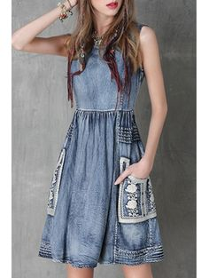 SHARE & Get it FREE | Floral Embroidery Jewel Neck Denim SundressFor Fashion Lovers only:80,000+ Items • New Arrivals Daily Join Zaful: Get YOUR $50 NOW!