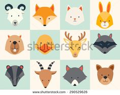 Set of cute animals icons, vector illustrations on colored background. - stock vector
