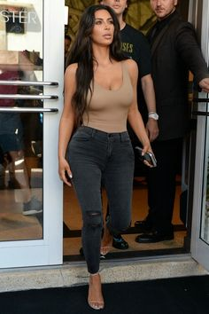 Brown Top, Black Jeans, shoes...
