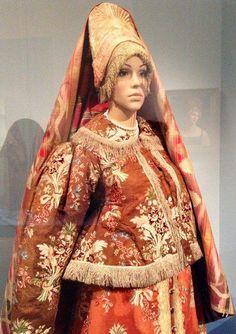traditional Russian costume. dress-sarafan, shugay-jacket, headcover, headdress