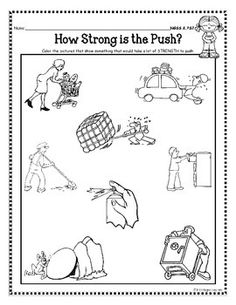 "push and pull worksheets kindergarten | K ""transportation"" theme ..."
