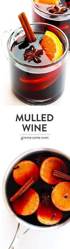 This traditional hot mulled wine recipe is easy to make on the stovetop or in a slow cooker, it's flavored with oranges and cinnamon and spices, and it's so warm and delicious! The perfect drink for winter and the holiday season.