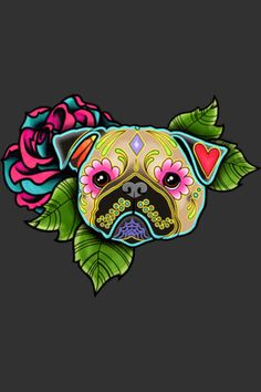 Pug in Fawn - Day of the Dead Sugar Skull Dog Art Print by Pretty In Ink - X-Small Sugar Skull Tattoos, Sugar Skull Art, Sugar Skulls, Pug Wallpaper, Iphone Wallpaper, Dog Skull, Pug Tattoo, Dog Throw, Throw Pillow