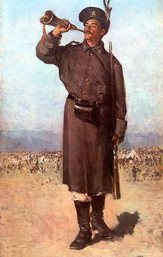 Gornistul (The Trumpet - Romanian soldier from the War of Independence, by Nicolae Grigorescu Independence War, Human Pictures, Figure Sketching, Manet, Art Database, Sketch Painting, High Art, Vintage Artwork, Whistler