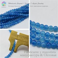 Blue Agate Loose Round Beads 4MM / 6MM