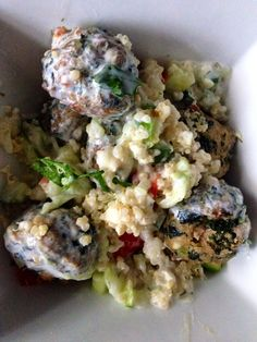 Mediterranean Quinoa with Spinach & Feta Turkey Meatballs and Tzatziki sauce - so healthy. So tasty.  andwhatiate.com