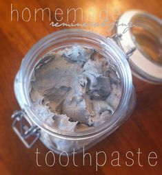 * Homemade toothpaste. INGREDIENTS: 2 Tbls baking soda, 1 Tbls Coconut Oil, 1/2 tsp Himalayan Salt, 1.5 Tbls bentonite clay powder with 1 Tbls purified water, 1 Tbls Xylitol, 10 drops peppermint essential oil (or 3 drops Four Thieves essential oil formula). Also 1 Tbls calcium magnesium powder, 5 trace minerals drops (when I get them). METHOD: mix all ingredients well. Don't use metal implements.