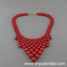 Red Bubble Necklace,Holiday Party,Bridesmaid Gifts,Beaded Jewelry,Wedding Necklace,Turquoise Color Necklace$16.00