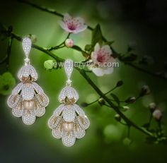 two step diamond jhumkas in floral inspired design - Latest Jewellery Designs