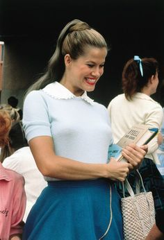 """Susan Buckner as Patty Simcox in """"Grease"""" Grease Outfits, Grease Costumes, Theatre Costumes, Movie Costumes, 50s Costume, Halloween Costumes, Wolf Costume, Woman Costumes, Pirate Costumes"""