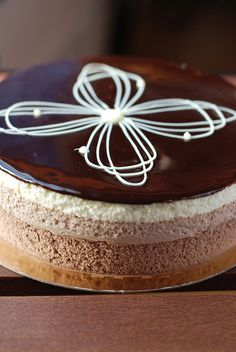Three Chocolate Mousse Cake #chocolates #sweet #yummy #delicious #food #chocolaterecipes #choco #chocolate