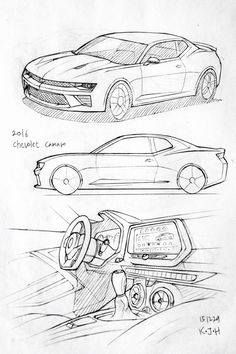 Car drawing 151229. 2016 Chevolet Camaro. Prisma on paper. Kim.J.H