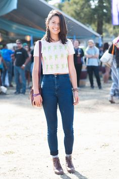 16 Super-Stylish Looks From Wine Country #refinery29  http://www.refinery29.com/bottle-rock-street-style#slide14  Name: Gabrielle Berby From: San Rafael What She's Wearing: Toys and Rome shirt, Dr. Martens bag, vintage shoes