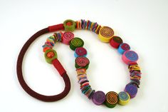 Multicolor felt and rope necklace-Felted beads necklace-Eco friendly necklace-Felt jewelry-Long boho hippie necklace-Mother and daughter