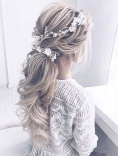 Long Bridal Hair, Boho Wedding Hair, Vintage Wedding Hair, Bridal Hair Vine, Bridal Crown, Wedding Hair Blonde, Wedding Dresses, Long Face Hairstyles, Wedding Hairstyles