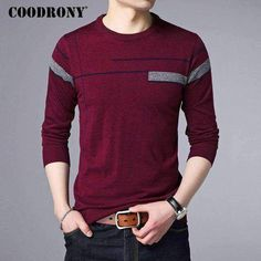 Coodrony 2017 Autumn Winter Warm Cashmere Sweater Men Wool Pullover Men Brand Clothing Casual O-Neck Mens Sweaters Knitwear 7142 - PINkart. Cashmere Sweater Men, Men Sweater, Polo Shirt Design, Camisa Polo, Stylish Mens Outfits, Latest Mens Fashion, Look Cool, Mens Tees, Casual Shirts