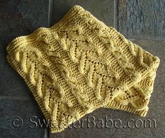 "Gauge is approximately 17 stitches = 4 ¼"" 11 cm and 23 rows = 4"" 10 cm in Curvy Vine Stitch on Size 9 5.5 mm needles."