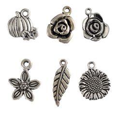 2016 Nueva Planta de plata Tibetana del grano de los encantos de Calabaza Daisy Rose Leaf colgantes cupieron las pulseras de la joyería de DIY que hace 10 unids