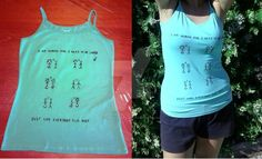 "AVAILABLE ""How soon is now?"" front decoration Inspired to one of my favourite lyrics by Patrick Morrissey: How soon is now?  Top with straps 95% cotton 5% elastane Size M (woman) Colour: aquamarine"