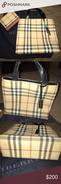 Authentic Burberry Wallet and Handbag/Tote Burberry wallet and handbag, 100% authentic. Some visible spots on the purse, as pictured. Dust bag is included. Measures 8.5 wide and 7.5 long. Burberry Bags Totes