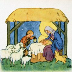 ida bohatta vintage mini gift card print - lambs and shepherd boy in creche christmas card illustration art antique xmas
