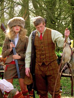 I don't understand why my husband and I can't dress like this when we go on our hunts. Shooting Club, Skeet Shooting, Tartan, Edwardian Fashion, Edwardian Style, Countryside Fashion, The Sporting Life, Tweed Run, English Gentleman