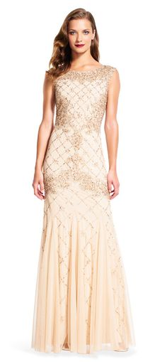 c32d6e7c0d7 Adrianna Papell Fully Beaded Sleeveless Godet Gown Champagne Dress- FINAL  SALE