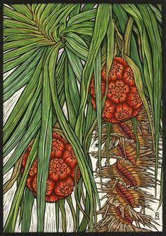 'Kakadu Pandanus' - Hand coloured linocut on handmade Japanese paper, ltd. to fifty, by Rachel Newling, Australia Botanical Illustration, Botanical Prints, Graphic Illustration, Painting Prints, Art Prints, Block Prints, Paintings, Dibujos Cute, Wood Engraving