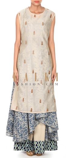 Buy this Cream top with printed layer in mirror embroidery only on Kalki